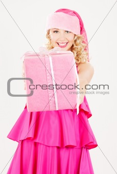 cheerful santa helper girl with gift box