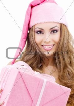 happy santa helper with gift box