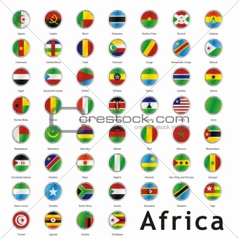 fully editable isolated african flags
