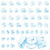 fully editable vector 3d ice alphabet - capitals and numerals