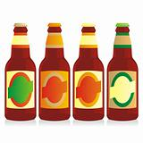 fully editable vector isolated bottles of different types of beer