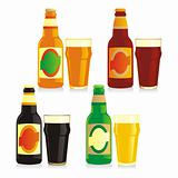 fully editable vector isolated bottles and glasses of different types of beer