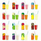 fully editable isolated juice cans and glasses