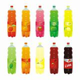 fully editable isolated carbonated drinks set