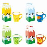 fully editable isolated milk carton boxes and colored mugs