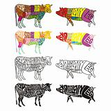 fully editable vector isolated cow and pig