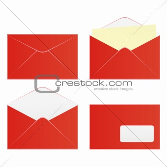 vector editable isolated colored envelopes