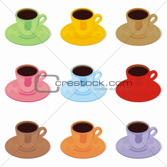 fully editable isolated espresso cups and saucers