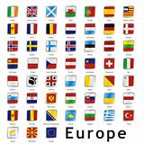 fully editable isolated european flags