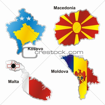 fully editable vector isolated international flag in map shape