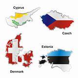 fully editable vector isolated international flag in map shape