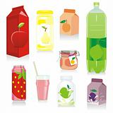 fully editable isolated fruit containers