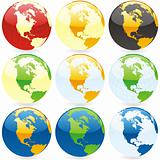 vector editable colored globes