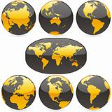 vector editable colored world map and globes