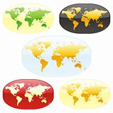 vector editable colored world maps