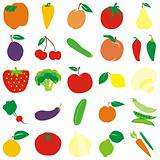 fully editable vector fruits and vegetables with details ready to use