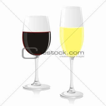 fully editable vector isolated wine glasses