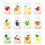 fully editable vector isolated fruit yogurt glass bottles