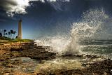 &quot;Barber&#39;s Point&quot; lighthouse, wave crashing!