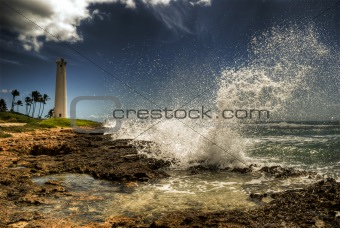 """Barber's Point"" lighthouse, wave crashing!"