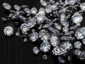 a lot of diamonds, scattering across the black