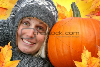 Girl with big pumpkin
