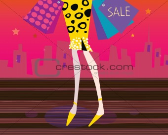 Long legs woman is shopping