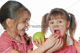 kids playing with apples