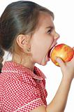 girl biting an apple