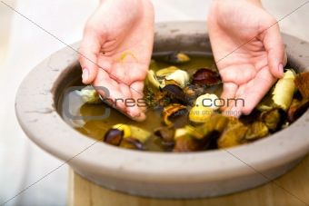 Hands grabbing water