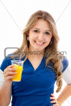 Woman with orange juice