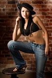 asian girl in jeans and bra