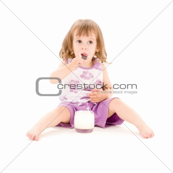 little girl with yogurt