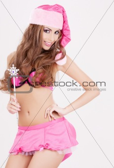 santa helper girl with magic wand
