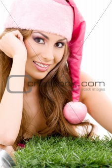 happy santa helper in pink hat