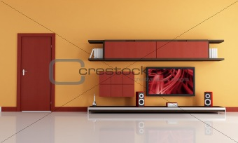 lcd tv and audio system in a orange and red lounge