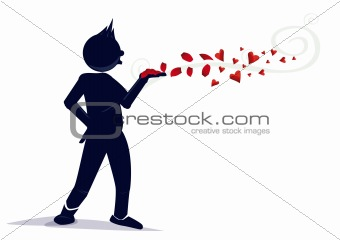 character with a red flower and a hearts