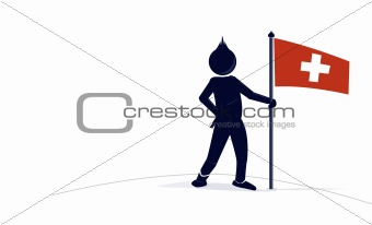 character with a swiss flag