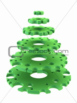 3d symbolic New Year's fir tree