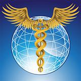 Caduceus Gold with Globe