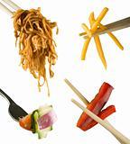 Chopsticks and fork utensils
