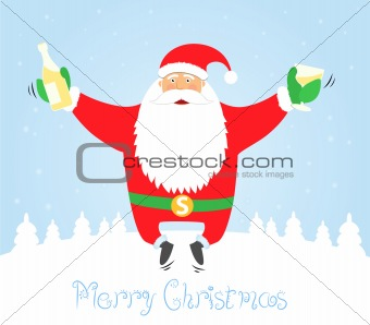 Santa Claus jumping with glass and champagne. Merry Christmas