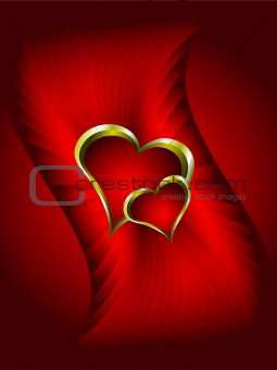 Abstract Red and Gold Hearts Valentines Background