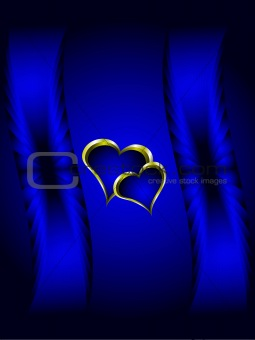 Blue and Gold Hearts Valentines Background