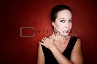 Beautiful Woman on a Red Background