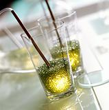 Stylish light on glass table