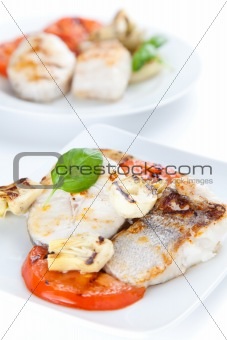 slice of hake grilled
