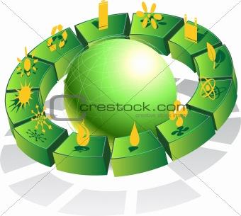 3D Eco Friendly Green Globe