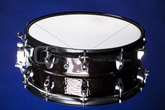 Black snare Drum Isolated On Blue