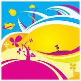 crazy color flower vector background